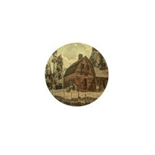 vintage rustic country red barn Mini Button