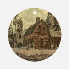 vintage rustic country red barn Round Ornament