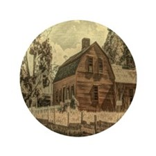 "vintage rustic country red barn 3.5"" Button"