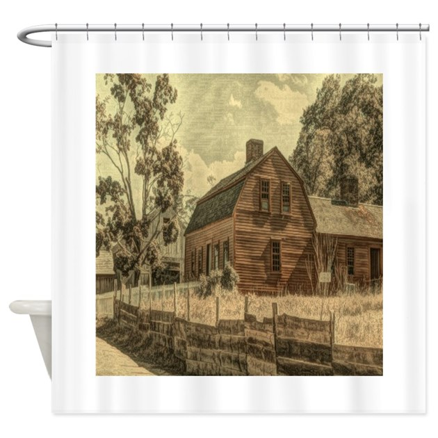 vintage rustic country red barn Shower Curtain by listing
