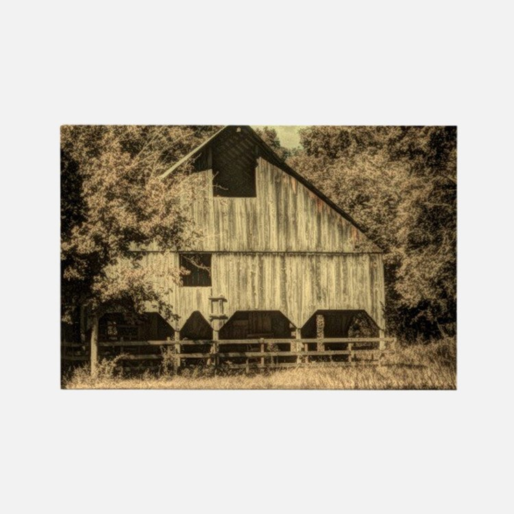 vintage rustic country barn house Rectangle Magnet