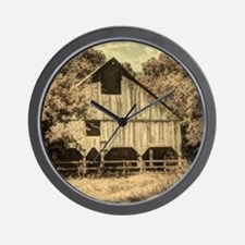 vintage rustic country barn house Wall Clock