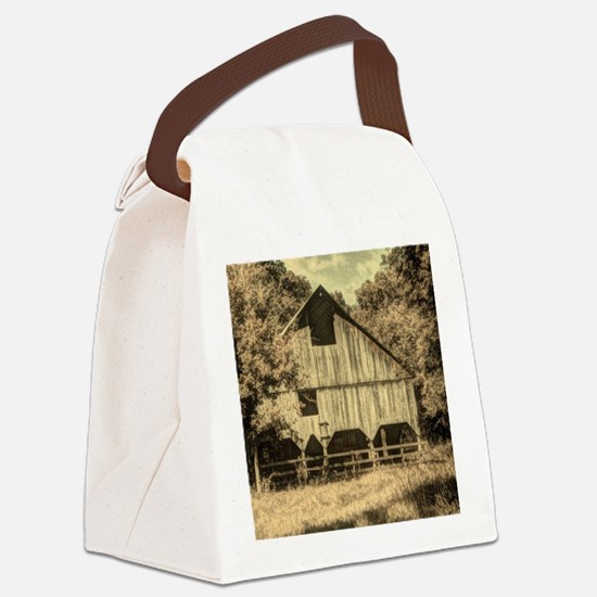 vintage rustic country barn house Canvas Lunch Bag