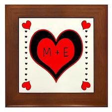 Cascading Hearts Monogram Framed Tile