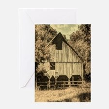 vintage rustic country barn house Greeting Card
