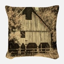 vintage rustic country barn ho Woven Throw Pillow