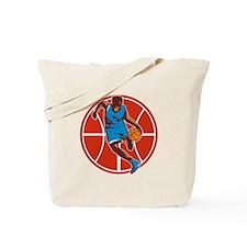 Basketball Player Dribble Ball Front Retro Tote Ba