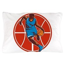 Basketball Player Dribble Ball Front Retro Pillow
