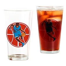 Basketball Player Dribble Ball Front Retro Drinkin