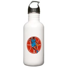 Basketball Player Dribble Ball Front Retro Water B