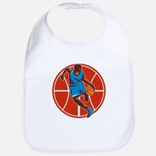 Basketball Player Dribble Ball Front Retro Bib