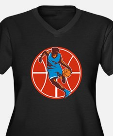 Basketball Player Dribble Ball Front Retro Plus Si