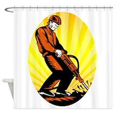 Construction Worker Jackhammer Oval Shower Curtain