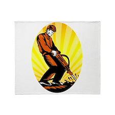 Construction Worker Jackhammer Oval Throw Blanket