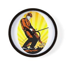 Construction Worker Jackhammer Oval Wall Clock