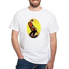 Construction Worker Jackhammer Oval T-Shirt