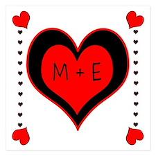 Cascading Hearts Monogram Invitations