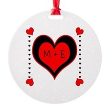 Cascading Hearts Monogram Ornament