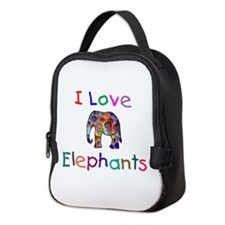 I Love Elephants Neoprene Lunch Bag