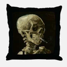 Skull of a Skeleton with Burning Cigarette Throw P