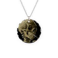 Skull of a Skeleton with Burning Cigarette Necklac