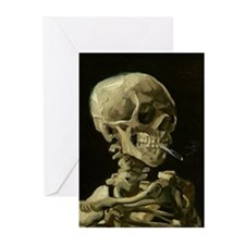 Skull of a Skeleton with Burning Cigarette Greetin