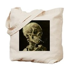 Skull of a Skeleton with Burning Cigarette Tote Ba