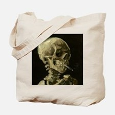 Skull of a Skeleton with Burning Cigarette Tote Ba