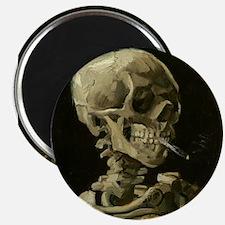 Skull of a Skeleton with Burning Cigarette Magnets