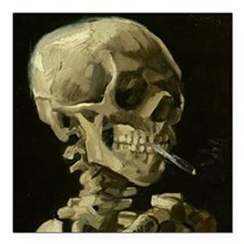 Skull of a Skeleton with Burning Cigarette Square