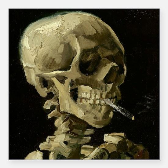 Skull of a Skeleton with Burning Cigarette Square