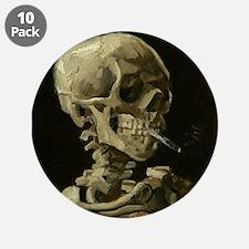 "Skull of a Skeleton with Burning Cigarette 3.5"" Bu"