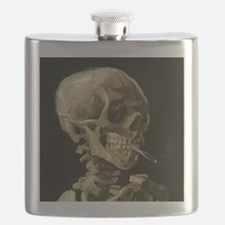 Skull of a Skeleton with Burning Cigarette Flask