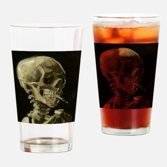 Skull of a Skeleton with Burning Cigarette Drinkin