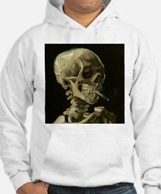 Skull of a Skeleton with Burning Cigarette Hoodie