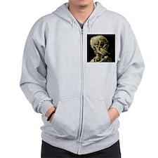Skull of a Skeleton with Burning Cigarette Zip Hoodie