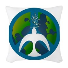 Earth Peace Sign Woven Throw Pillow