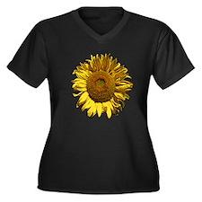Sunflower Women's Plus Size V-Neck Dark T-Shirt