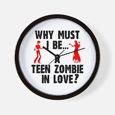 Teen Zombie In Love Wall Clock