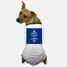 Keep Calm and Carry On - navy blue Dog T-Shirt
