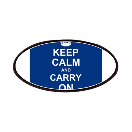 Keep Calm and Carry On - navy blue Patches