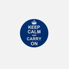 Keep Calm and Carry On - navy blue Mini Button