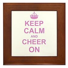 Keep Calm and Cheer on Framed Tile