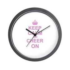 Keep Calm and Cheer on Wall Clock