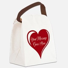 Your Custom Message in a Heart Canvas Lunch Bag