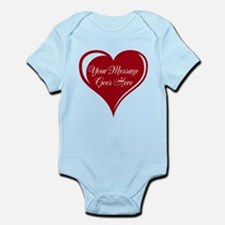 Your Custom Message in a Heart Body Suit