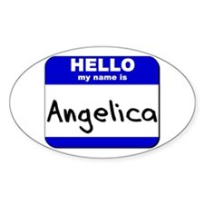 hello my name is angelica Oval Decal