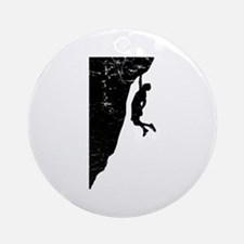 Rock Climber Cliff Hanger Ornament (Round)