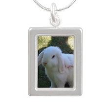 white bunny Silver Portrait Necklace