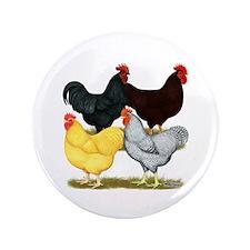 """Heavy Breeds Rooster Quartet 3.5&Quot; 3.5"""" Button"""